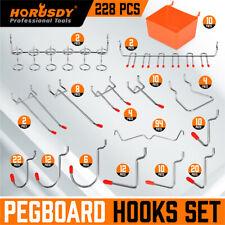 228 Pcs Pegboard Hooks Assortment Set Organizing Various Tools With Storage Bins