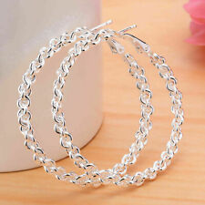 Elegant Women 925 Silver Ear Stud Hoop Dangle Earrings Wedding Bridal Jewelry