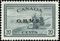 Canada Mint H VF Scott #O8 20c Overprinted O.H.M.S Peace Issue Stamp