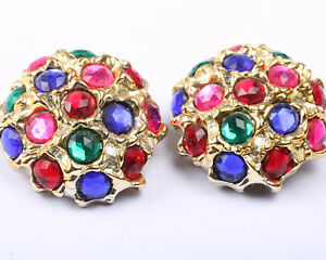 Vintage 1970s Large Gold Tone Earrings with Coloured Stones