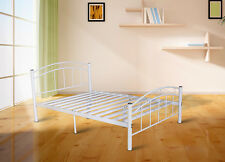 Cleveland Metal Frame Double Bed in White,Metal Slat with 8 Legs