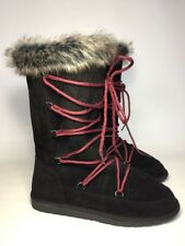"Rampage ""Present"" Moccasin Boots Vegan Fur Suede Black Berry Purple New Boot 8"