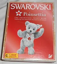 Steiff Collectible Poinsettia The Swarovski Teddy Bear - Brand New White Ear Tag
