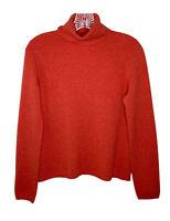 Folio size small 100% cashmere sweater knit orange long sleeve turtleneck