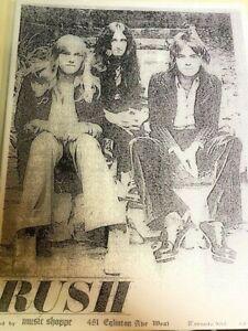 Rush Concert Flyer 1972 Toronto Geddy Lee John Rutsey