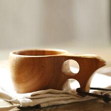 Handmade Wood Camping Wooden Cup Scandinavia Curly Drinking Mug Bowl w/ Handle