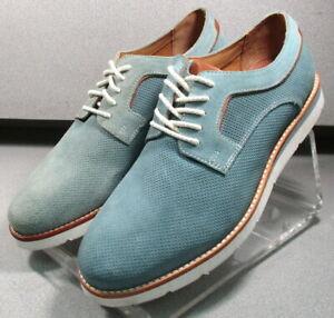 590979 DF38 Men's Shoes Size 10.5 M Blue Suede Lace Up Johnston & Murphy