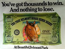 "BELMONT PARK RACETRACK ORIGINAL ADVERTISING POSTER 1980'S 44 1/2"" X 59"" ROLLED"