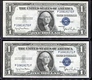(2) 1935-D $1 Silver Cert REVERSE Narrow / Wide Changeover Set PF Block Unc