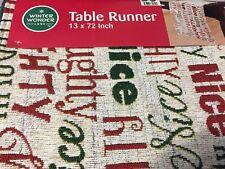 "WINTER WONDER CHRISTMAS TABLE RUNNER 13"" X 72""  NAUGHTY OR NICE TABLE DECOR"