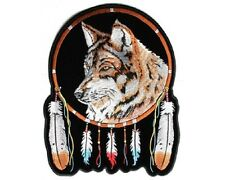 """(L11) Large WOLF & FEATHERS 10"""" x 12"""" iron on back patch (3865) Biker"""