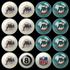 NFL Miami Dolphins Pool Ball Billiards Balls Set w/ FREE Shipping