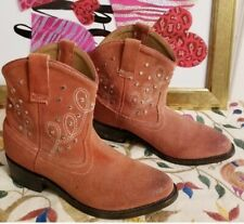 Miz Mooz Studded Paisley Stitched Real Suede Ankle Cowgirl Boots