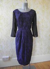LAURA ASHLEY navy & mauve snakeskin print chiffon pleat dress, UK16, 3/4 sleeve