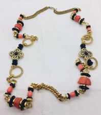 Lawrence VRBA Vintage Gold Plated & Red Coral Long Necklace