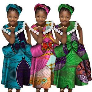 Summer African Girls Printed Lace Sleeveless Dress Kids Dashiki Ethnic Outfit