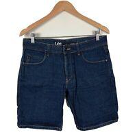 Lee Mens Denim Jean Shorts Size 21 Lo Slim - L2 Dark Blue Good Condition Made AU