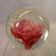 Stunning HAND BLOWN Solid Glass Globe Paperweight PINK CROCUS FLOWER in bubbles