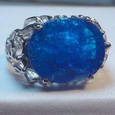 BIG! 12.0 ct NATURAL BLUE APATITE RING 925 STERLING  SILVER.SIZE 8.25.
