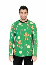 Adult Gingerbread Man All Over Green Long Sleeve Ugly Christmas T-Shirt Tee