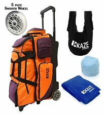 KAZE SPORTS DELUXE 4 Ball Bowling Roller Bag Tote + See Saw Grip Sack Towel