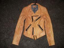 Robins Jeans Classic Tan Motorcycle Jacket, Small,  WRF09J002-TAN