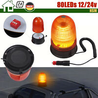 48 LED Gelbe Rundumleuchte FLATHEAD Warnleuchte Blitzleuchte Magnet 12//24Volt