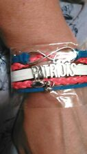 NWT NEW ENGLAND PATRIOTS BRACELET GIMP WOVEN WITH CHARMS INFINITY PATRIOTS LOVE