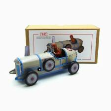 MS507 Vintage White Racer Car Retro Clockwork Wind Up Tin Toy Collectible