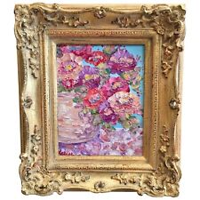 "KADLIC Abstract Floral Vase Original Oil Painting 8x10"" Gold Gilt Frame"