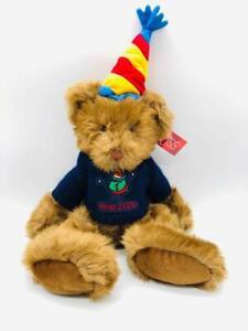 "Rare Russ 20"" Year 2000 Millennium Bear w/ Party Hat + Sweater Plush Birthday"