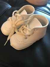 Vintage Baby Boy Girl Christening Shoes Size 1 Doll White Man Made Materials