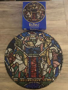THE SIEGE OF CANTERBURY Vintage 500 Piece Puzzle Foil Shiny Stained Glass Style