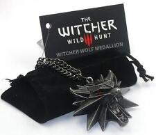 Wild Hunt Medallion Pendant Wizard Witcher Wolf Pendant with Chain
