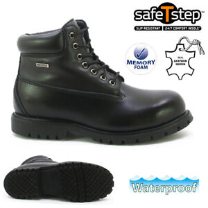 MENS LEATHER SAFETY WORK BOOTS WATERPROOF STEEL TOE CAP ARMY COMBAT HIKING SIZE