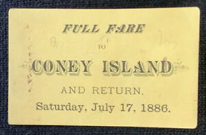 full fare coney island amusement park train ? ticket 1886 Mertztown Ephemera