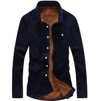 Mens slim fit winter fur lined casual long sleeve shirts formal warm coats N858