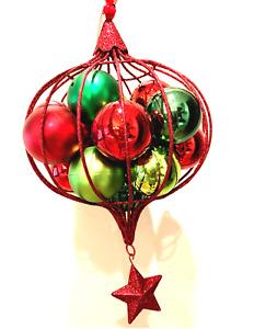 "Large Mistletoe Christmas Ornament,12"" Tall, glitter metal hanging mistletoe red"