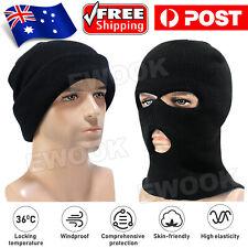 3 Holes Black Balaclava SAS Style Windproof Mask Neck Warmer Ski Hat Fishing AU