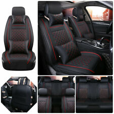 US 5-Seats Car SUV PU Leather Seat Cover Front+Rear Cushion Mat Accessories Set