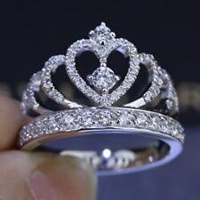 2Ct Round Cut VVS1D Diamond Princess Crown Engagement Ring 14k White Gold Finish
