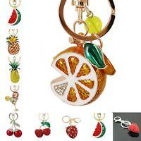 Luxury fruit Rhinestone Keyring Keychain Charm Pendant Bag Purse Car Key Chain