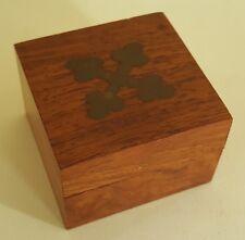 Treen wood & brass vintage Art Deco antique small box