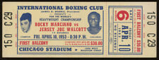 Original Unused 1953 Rocky Marciano vs.Jersey Joe Walcott Boxing Ticket /Chicago