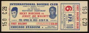 Original Unused 1953 Rocky Marciano vs Jersey Joe Walcott Boxing Ticket /Chicago