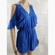 Bebop Women's Blue V-Neck Cold-Shoulder Casual Romper Juniors Size L $39.00