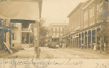Trolley & Stores on S. Reading Avenue ~BOYERTOWN PA~ Sharp & Expansive RPPC 1906