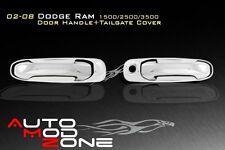02-08 Dodge RAM 1500 2500 Chrome 2 Door Handle Cover Covers w/o PSG Keyhole