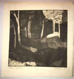 Vintage 1967 Signed Numbered Bettye Newton Abstract Landscape Etching Print