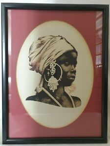 Mid-century African Black Lady Woodblock Screen Print ?? 1960s 70s 2of2
